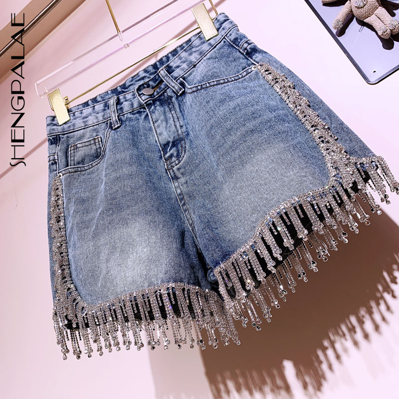 SHENGPALAE summer S-XL tassels split joint Diamond 2019 high waist korean fashion women denim   shorts   Ins style tide FR325