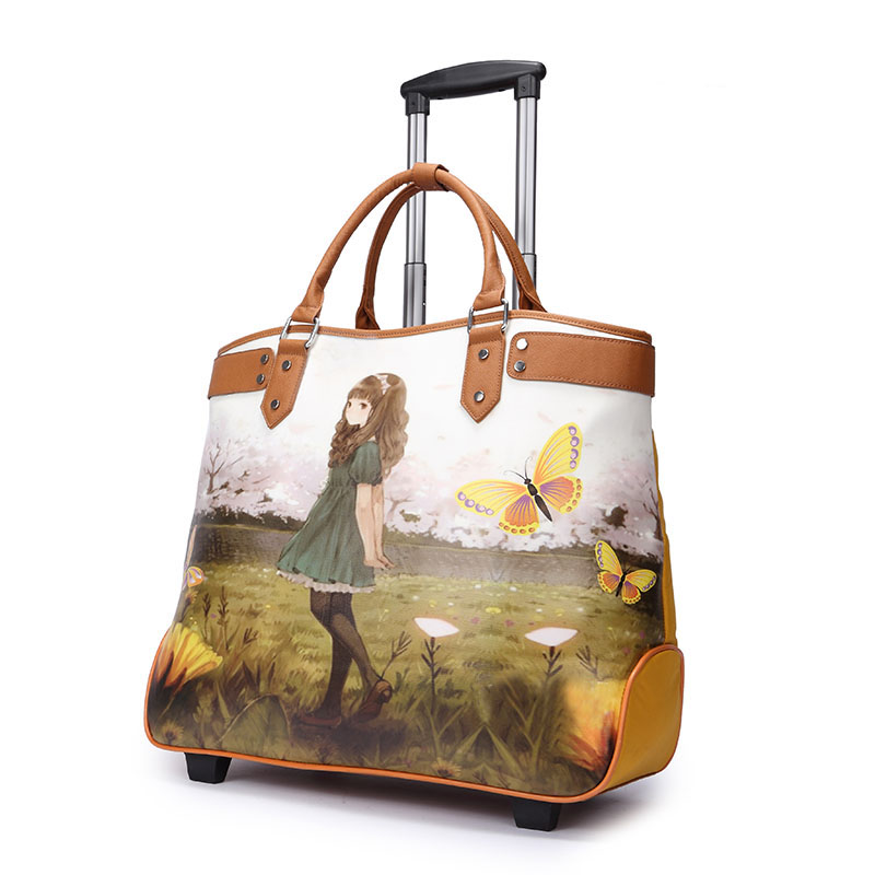 Women Waterproof Canvas+PU Leather Trolley Bag Ladies New Style Large Capacity Swing Travel Wheels Yellow - Fashion Bags Store store