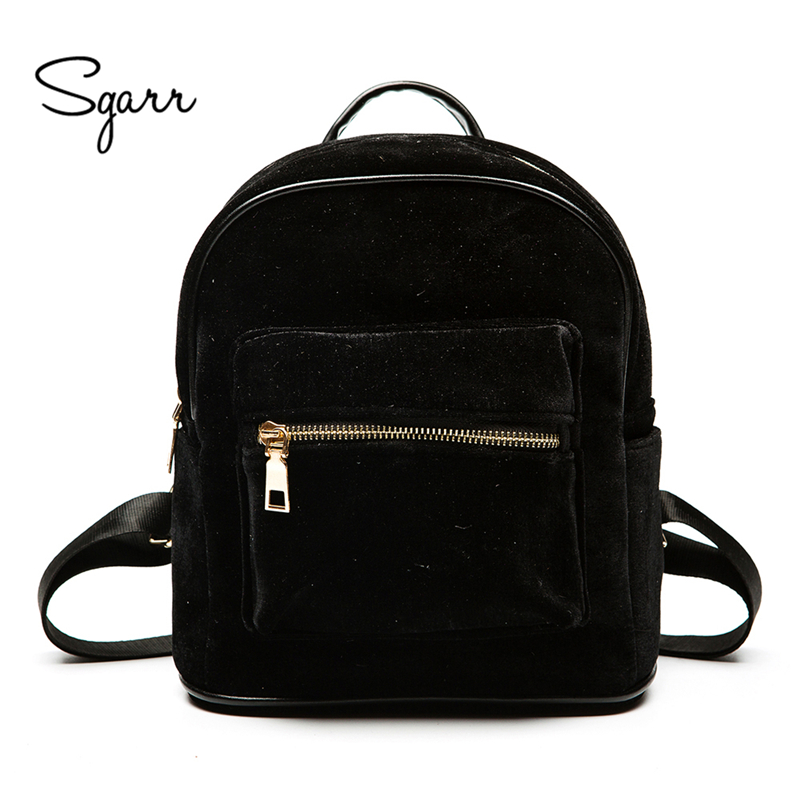 SGARR New Fashion Women Velvet Backpack Casual Female Travel Bag Mochila High Quality School Bags For Teenager Girls Rucksack 2017 new women fashion backpack casual