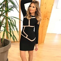 Free Shipping! 2018 New Top Fashion Inspired Geometric Mesh Patchwork Long Sleeves Party Celebrity Women Wholesale Bandage Dress