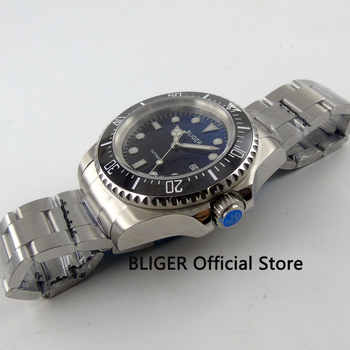 BLIGER 44mm Black Blue Dial Black Rotating Ceramic Bezel Date Adjust Luminous Marks Miyota Automatic Movement Men\'s Watch B82