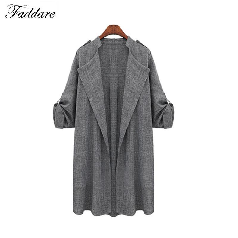2018 Casual Women Windbreaker Basic   Trench   Coat Fashion Solid Long Sleeve Knitted Loose Long Slim Sweater Coat Cardigan #919