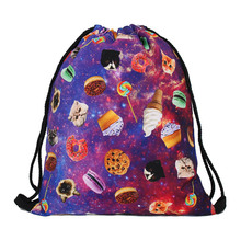 Polyester High Quality Drawstring Bag String Sack Beach Women Men Travel Storage Package Teenagers Backpack purple Color