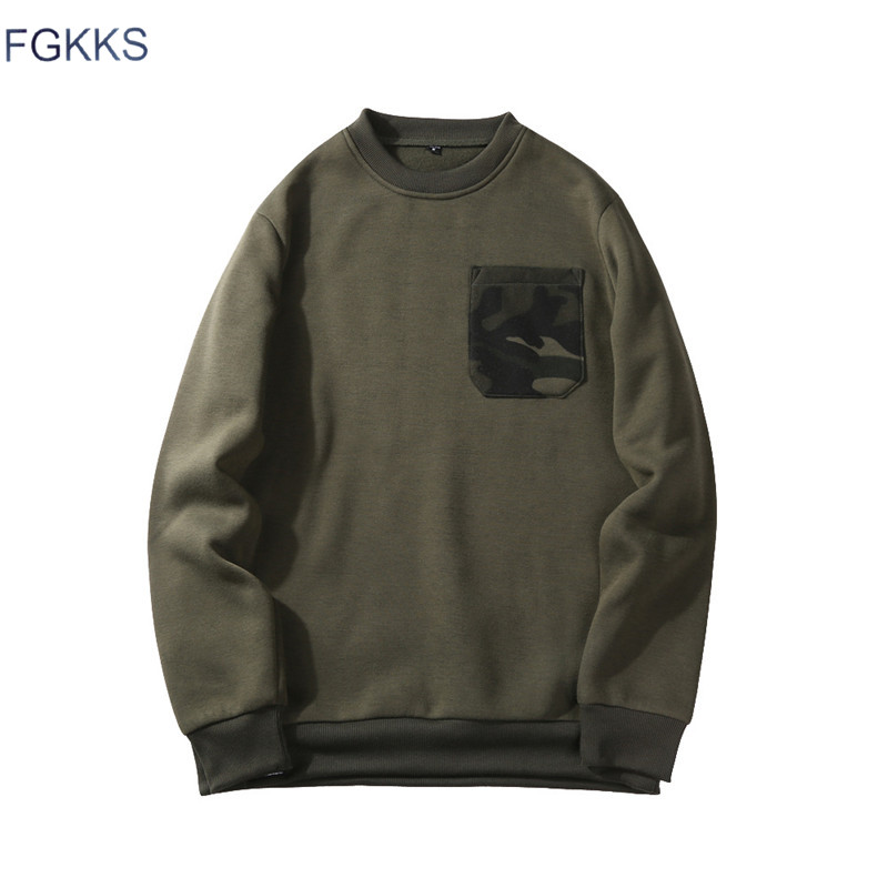 FGKKS Mens Hoodies Fashion Camouflage Pocket O-Neck Sweatshirt Men Casual Warm Patchwork Hoodies Sweatshirts EU Size