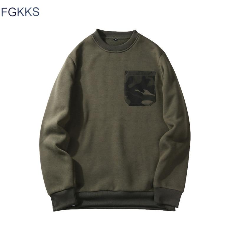 FGKKS Mens Hoodies Fashion Camouflage Pocket O-Neck Sweatshirt Men Casual Warm Patchwork Hoodies Sweatshirts EU Size