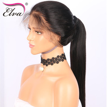 Elva Hair Pre Plucked 360 Lace Frontal Closure Bleached Knots Straight Brazilian Remy Human Hair With Baby Hair 10-22″ Free Part
