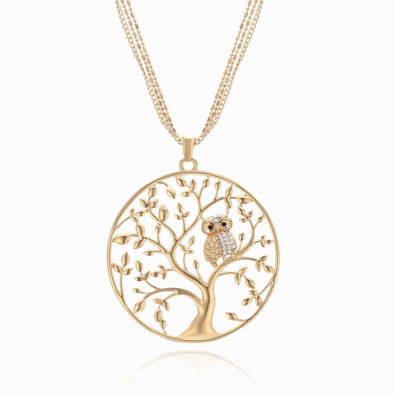 Gold Tree of life Owl Necklace Big Round Pendant Long Chains Sweater Necklace For Women Statement Jewelry Gifts Classic Collier