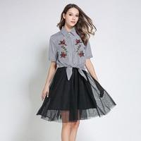 Haute Qualité 2017 Designer Piste Costume Set femmes 2 Pièce Floral Broderie Shirt Tops + Sexy Dentelle Streetwear Tutu Jupe costume