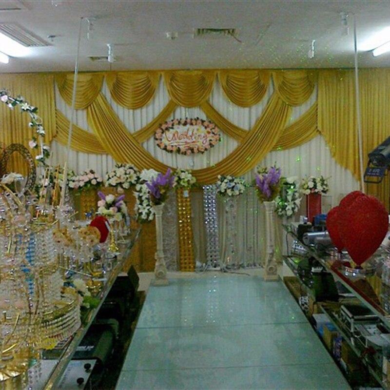 Élégant pas cher mariage toile de fond or glace tissu toile de fond rideau décoration de mariage swags taille et couleur peut être personnalisé