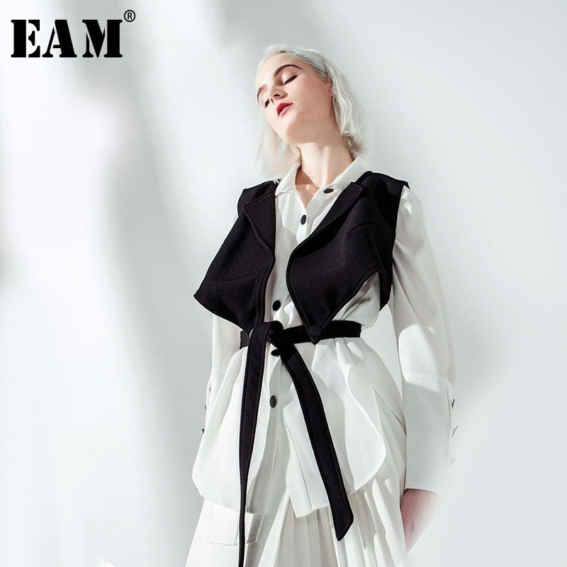EAM 2019 New Spring Summer Lapel Long Sleeve Black Vest Stitch Ribbon Loose Two Piece