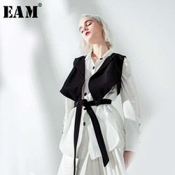 [EAM] 2020 New Spring Autumn Lapel Long Sleeve Black Vest Stitch Ribbon Loose Two Piece Shirt Women Blouse Fashion Tide JO664