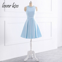 Lover Kiss Robe Rouge Courte Simple Satin Beaded Pearls Junior Short Homecoming Dresses Blue Girls Gowns