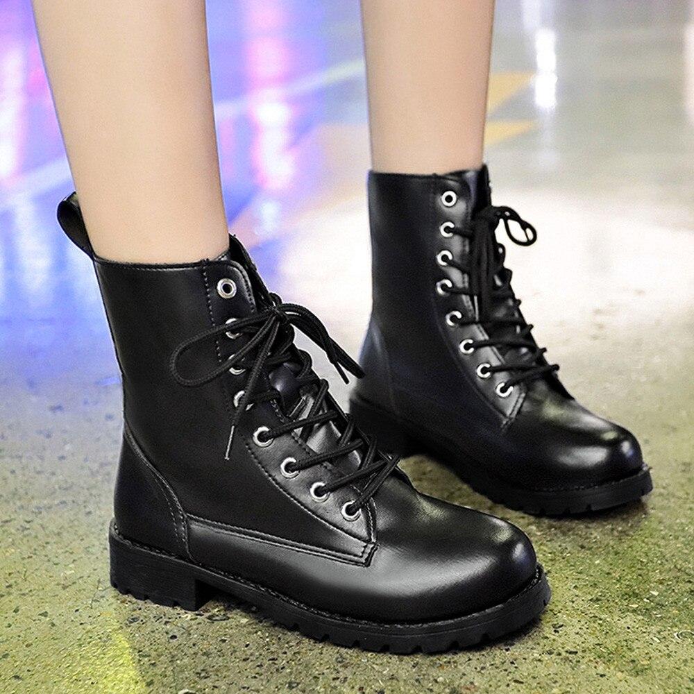 Ocio Las Lace Redonda De Zapatos Punta G10 Botines Botas A Cuero Mujeres Up Martin qPTZwTaR1