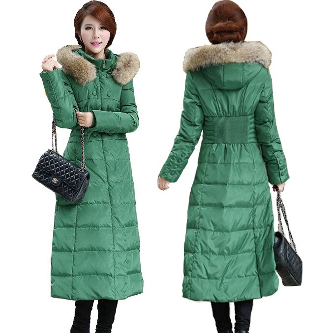 5XL 2015 New Plus Size Winter Coat Women Slim Waist Long Jacket Real Raccoon Fur Collar Parka Fashion White Duck - Beijing Global Sunshine Clothing Co., Ltd. store