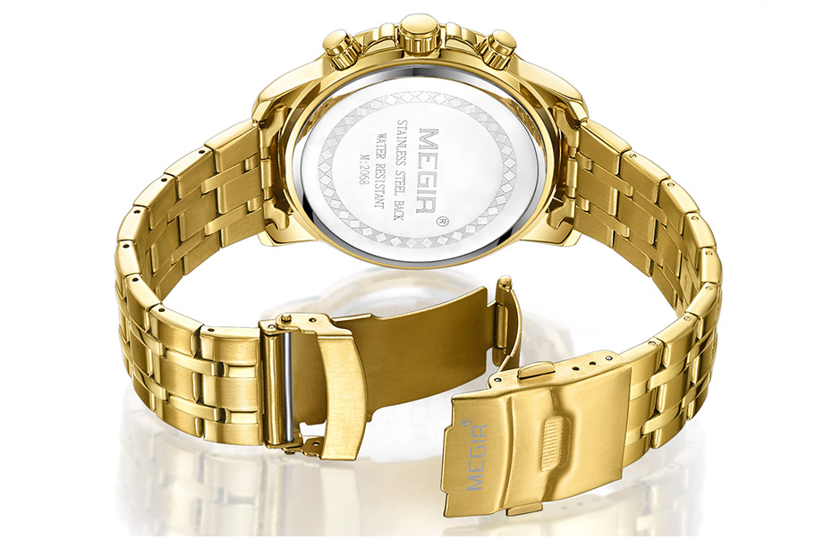 HTB1ZwDVa1GSBuNjSspbq6AiipXal Megir Men's Gold Stainless Steel Quartz Watches Business Chronograph Analgue Wristwatch for Man Waterproof Luminous 2068GGD-2N3