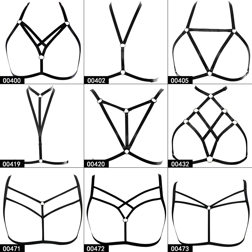 Strappy Harness Bra Top Cage Breast Belt Sexy Plus Size Underwear Pentagram Harajuku Goth Elastic Soft Bondage Festival Rave