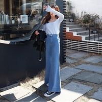 2017 new autumn winter women wide leg pants jeans fashion popular flare pants loose thin female jeans ZL909