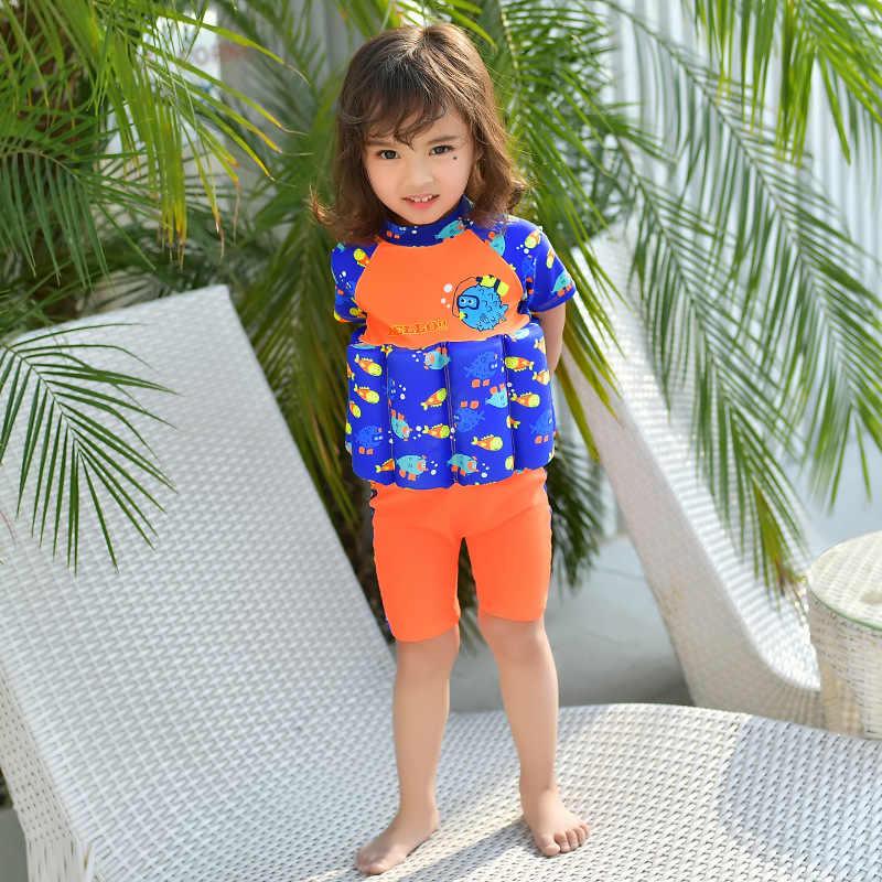 Надувной жилет, детские купальные костюмы с рисунком рыбы, детский Рашгард для серфинга, купальные костюмы для серфинга