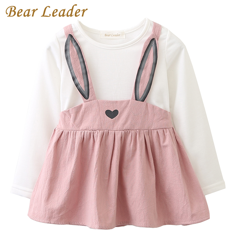 Bear Leader Baby Dresses 2018 New Spring Baby Girls Clothes Cute Rabbit Ears Printing Princess Newborn Dress Suit For 6M-24M bear leader baby dresses 2018 new summer baby girls clothes colorful printing dresses with hat 2pcs newborn dresses for 6m 24m