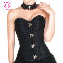 Black Floral Jacquard Ring Buckled Overbust Corsets & Bustiers Sexy Strapless Waist Training Corset Steampunk Clothing