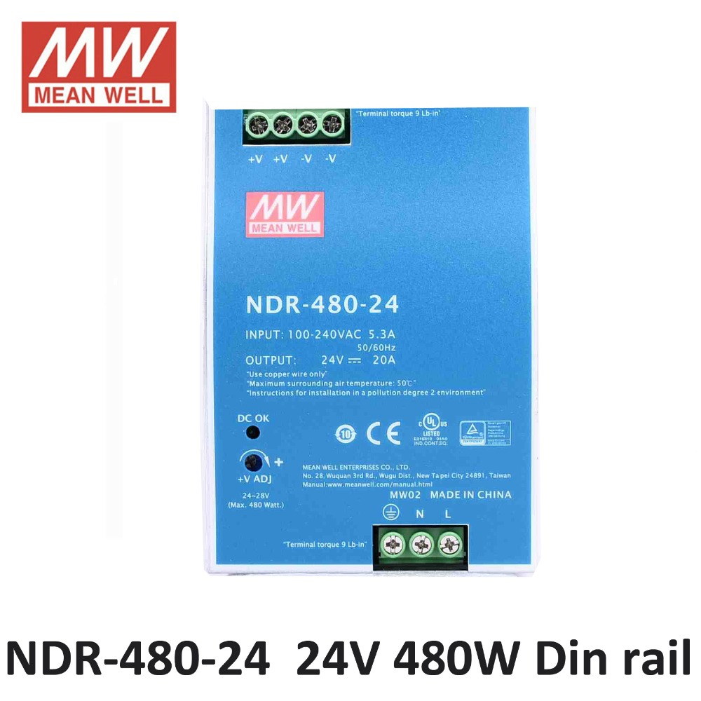 24v Dc Laboratory Power Supply Mean Well Ndr 480 24 Single Output 4a 480w 20a Industrial Din Rail Mounted Meanwell