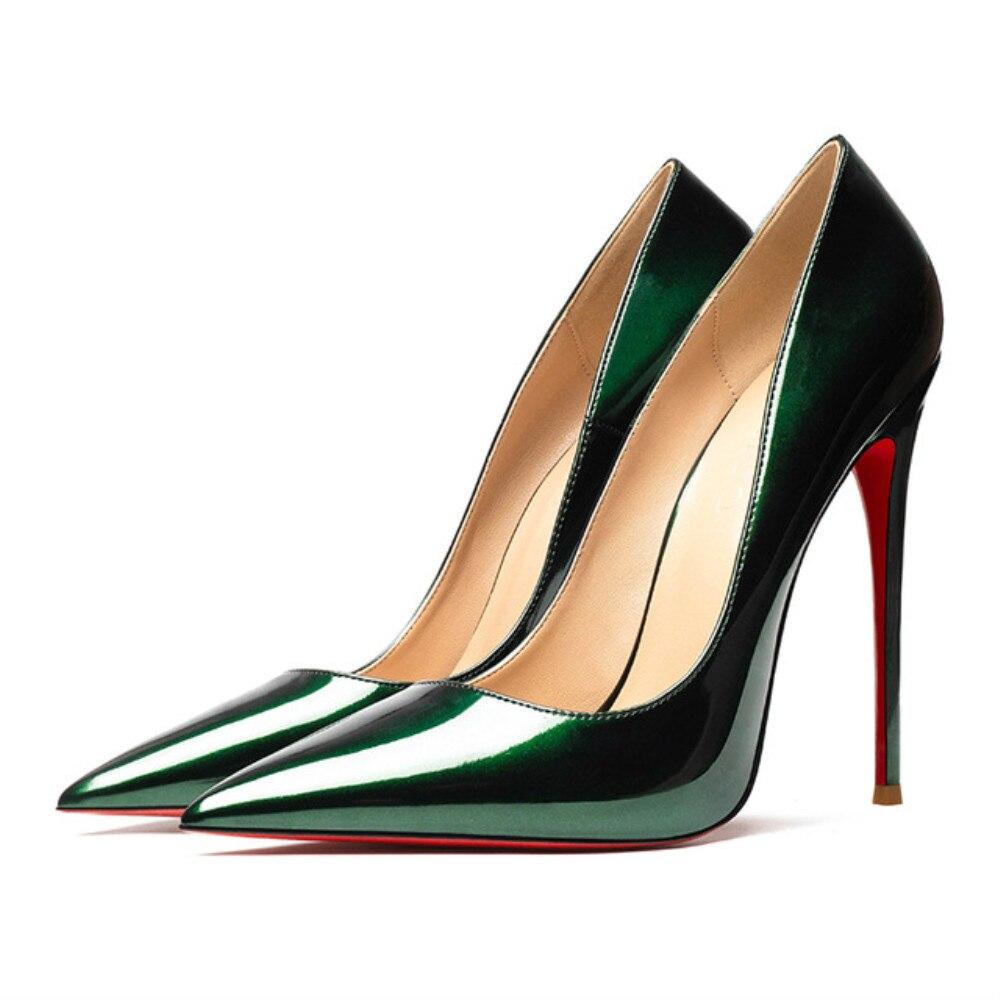 Printemps été femmes Sexy pompes 12cm à talons hauts lumineux en cuir véritable chaussures de mariage rouge bas talons argent dame Stiletto OL