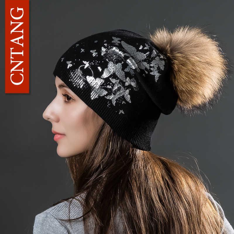 CNTANG 女性ニットプリント蝶帽子冬二重層ウールキャップ本物のアライグマポンポン毛皮ビーニーファッション女性帽子