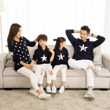 Winter Christmas Star Family Matching Clothing Mommy Dad and Kids Clothes Women Men Baby Hoodies Sweatshirts With Velvet