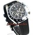 Мужские кварцевые часы Parnis  повседневные резиновые часы из нержавеющей стали с кристаллом Sapphire  39 мм
