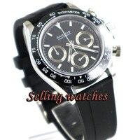 39 мм Парнис Смотреть Кварцевые наручные часы сапфировое стекло Повседневное резиновая из нержавеющей стали Для мужчин кварцевые часы ново