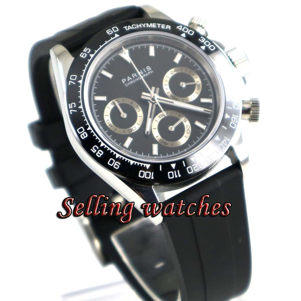 39mm Parnis Watch Quartz Wristwatches Sapphire Crystal Casual Rubber Stainless steel Men's quartz Watch New Arrival