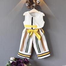 все цены на 2pcs/set Girl Geometric Print Tank Top + Striped Wide-leg Pants Stylish Suit онлайн