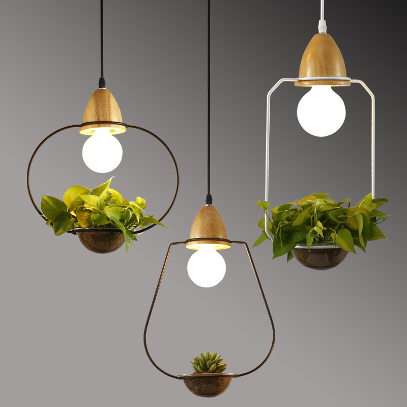 Originality Modern Pendant Light E27 Holder Hanging Plant Pot Pendant Lamp Wood Iron Glass Droplight For Restaurant Bar Cafe modern wood pendant light black white retro droplight bar cafe bedroom restaurant american country style hanging lamp dia 30cm