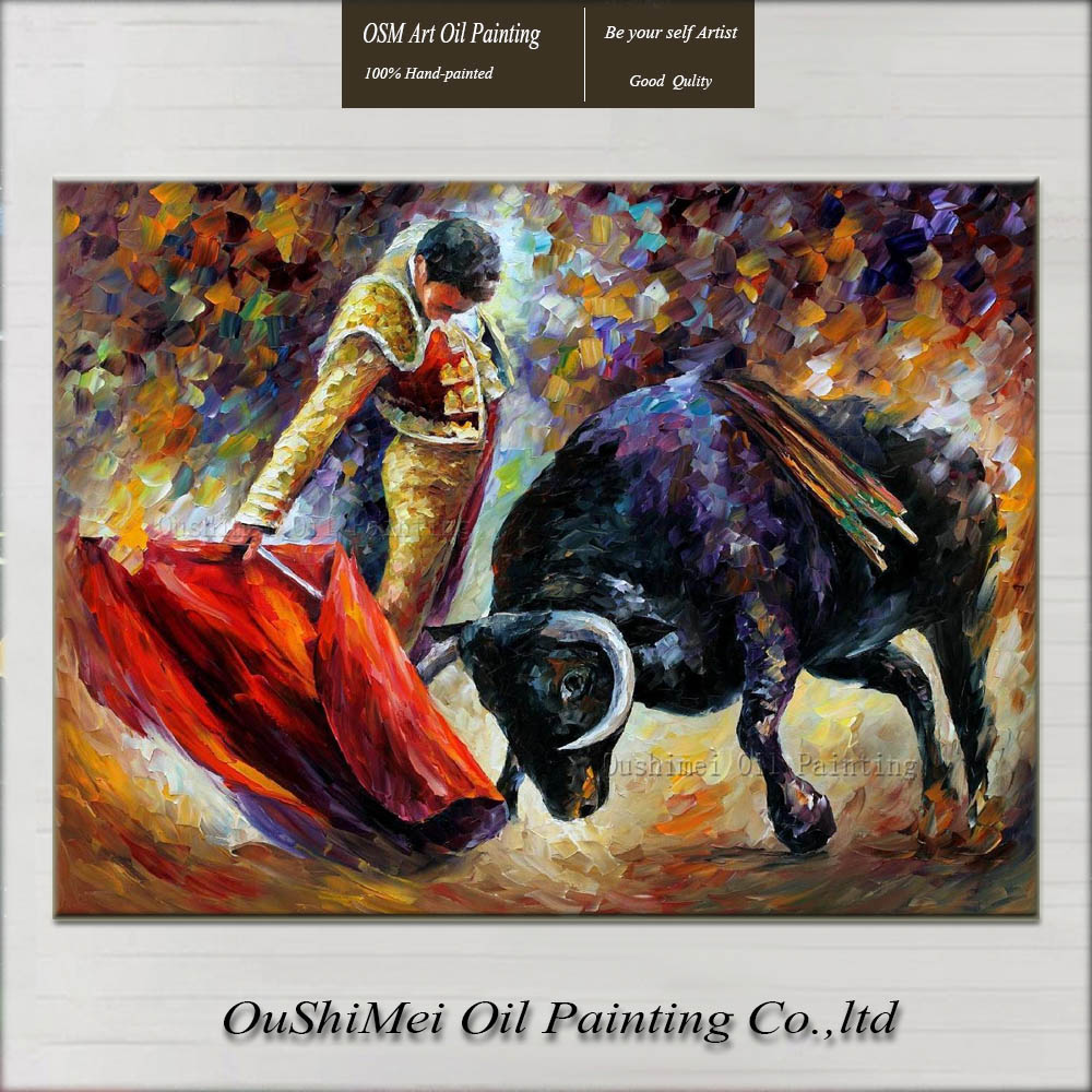 Customized Oil Painting Reproduction Bullfight Canvas Pictures 100% Hand Painted Oil Painting Bull Unframed Spain Landscape