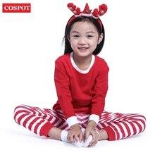 Купить с кэшбэком 2017 Baby Boys Girls Christmas Pajamas Kids Long Sleeve Xmas PJS Cotton Pajamas Children Autumn Clothing Set Free Shipping 30D