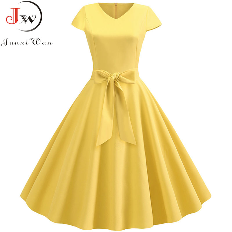 Yellow Solid Color Summer Dress Vintage Women Swing Rockabilly Dresses Robe Femme Elegant Plus Size Casual Party Midi Vestidos