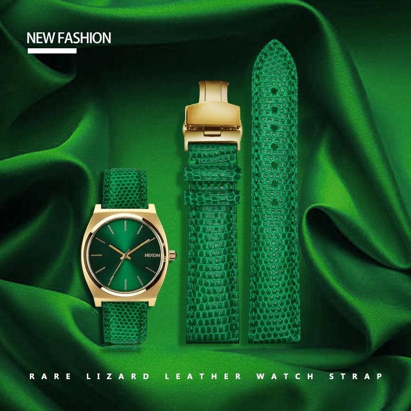 Bracelet de montre en cuir véritable vert bracelet en cuir d'autruche lézard avec bracelet homme 20mm