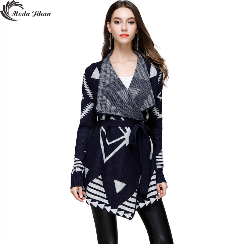 Moda Jihan New Women Cardigans Long Cardigan Big Turn down Collar Striped Sweaters Belt Sashes Autumn Winter Irregular Sweaters