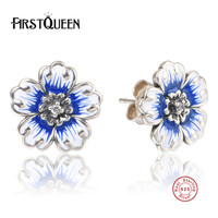 FirstQueen Romantic 925 Sterling Silver Daisy Blossom Stud Earrings Blue Enamel Earrings For Women Fine Jewelry