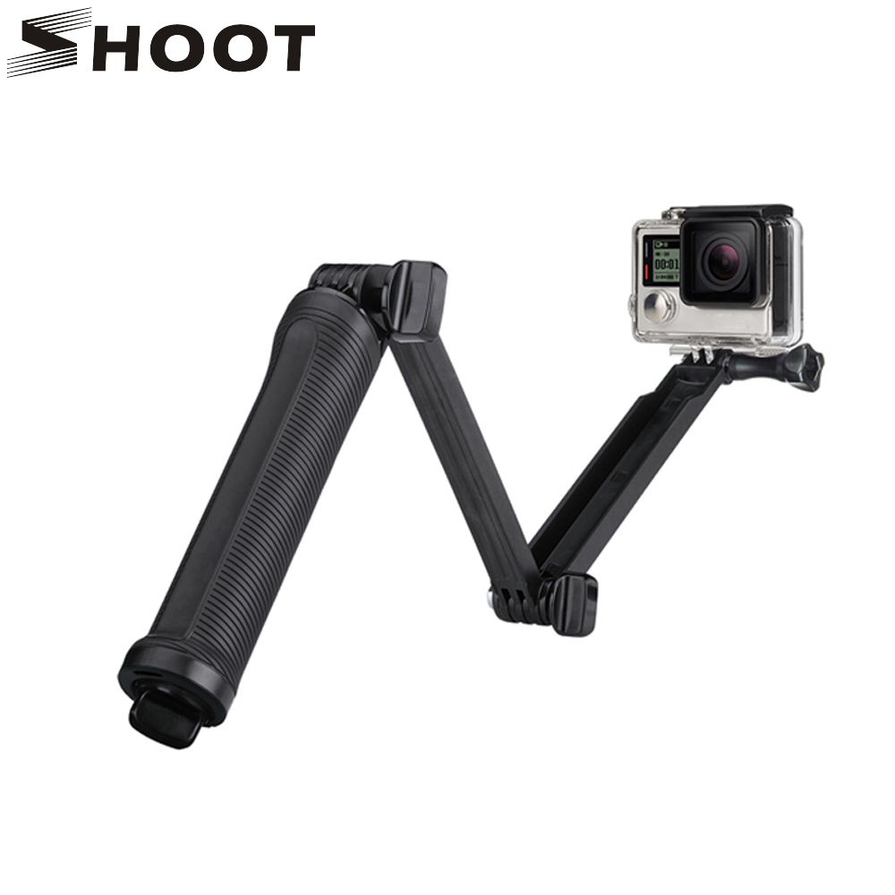 SHOOT Waterproof 3 Way Grip Monopod For Gopro Hero 5 3 4 Session SJ4000 Xiaomi Yi 4K Camera Go Pro Selfie Stick with Tripod Kits gopro 4 session sjcam xiao yi sj4000 kit accessories collection storage bag case with monopod strap for sports camera