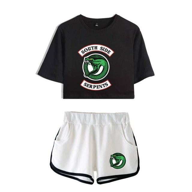 Riverdale комплект из двух предметов летние пикантные 2018 хлопок футболка с принтом новый костюм шорты для женщин укороченный для мод