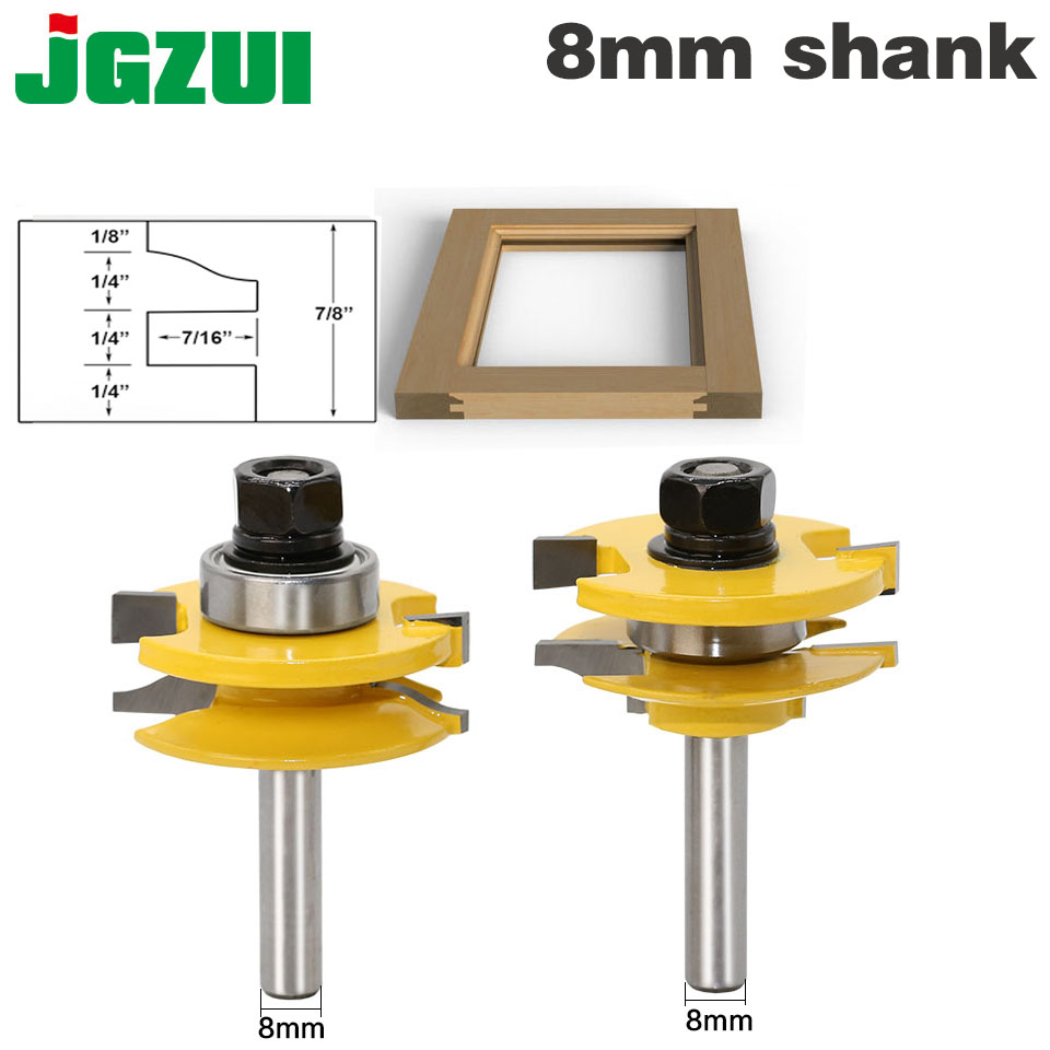 2 Bit Rail and Stile Router Bit Set - 8 Shank door knife Woodworking cutter Tenon Cutter for Woodworking Tools tungsten alloy steel woodworking router bit buddha beads ball knife beads tools fresas para cnc freze ucu wooden beads drill