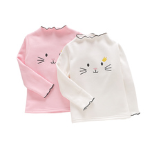 2019 New Spring Autumn Children Long Sleeve T-shirt for Girls Clothes Cat Embroidery Kids Shirts Baby Girls Tops 3 4 5 6 7 Years girls plaid blouse 2019 spring autumn turn down collar teenager shirts cotton shirts casual clothes child kids long sleeve 4 13t