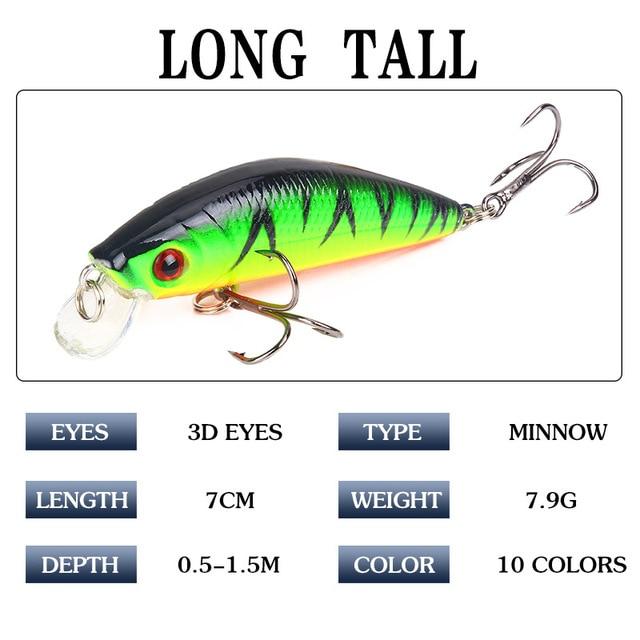 1 Pcs Fishing Lure Minnow 7cm 8g Crankbait Hard Bait Tight Wobble Slow sinking Jerkbait Pesca Fishing Tackle Accessories 4