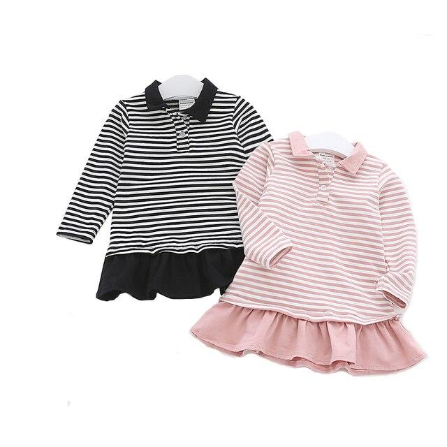 3bd79fc66f Moda jesień Dziewczynka Sukienka Bawełna Naszywka Z Długim Rękawem Dla Dzieci  Ubrania Dla Niemowląt Dzieci Dziewczyny