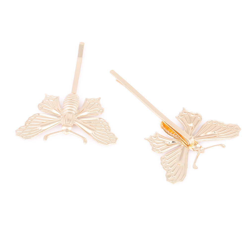 Butterfly hair accessories for weddings uk - 1pc Brand New Fashion Women Silver Gold Butterfly Leaf Hairpin Golden Wedding Uk Clip Boho