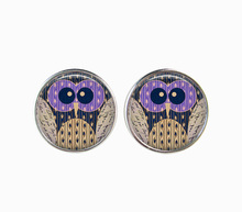 Owl Earrings Glass Cabochon Pendant Animal Jewelry For Women Accessories Silver Plated French Back Earings Bird