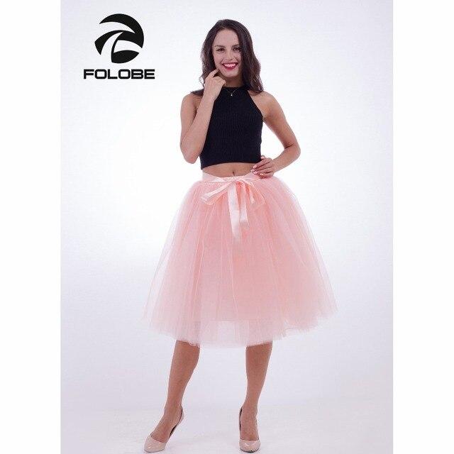 c961afafe5 FOLOBE Peach 7 Layers Midi Tulle Skirt Tutu Skirts Womens Petticoat Elastic  Belt faldas saia jupe