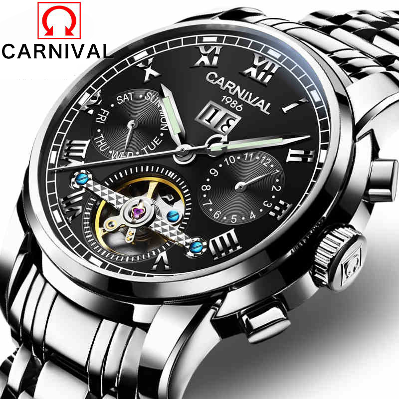 Carnival Mens Automatic Mechanical Watch Tourbillon Males Skeleton Wrist Watches Quality Gift Box Wristwatches Relojes Mecanicos