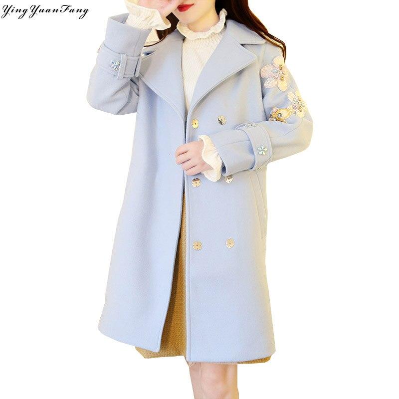 Tempérament blanc Paillettes Nouveau Fleurs Light Manteau Perlé Longue L'industrie Dans Yingyuanfang La Mode Strass Lourde De Mince Était Laine rose Section Blue 6xCqYC15w